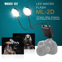 ML-2D On-Camera LED Macro Flash Light with Flexible Arm for #Canon, #Nikon, Panasonic,Olympus DSLR #Cameras: $44.49 by Free Shipping