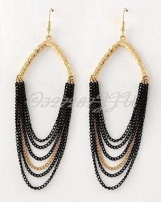 """4"""" LONG BLACK GOLD DRAPING CHAIN DROP DANGLE GOLD EARRINGS URBAN GLAM #DAVINCI #ChainLink"""