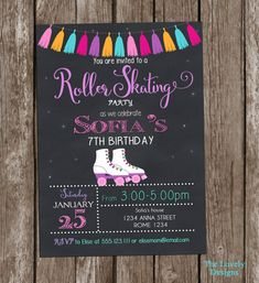 Roller Skates Invitation Printable Roller by TheLovelyDesigns