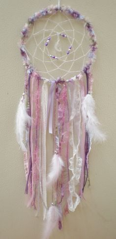 'Lilac Mist' dream catcher...hand-made by me! Available at https://www.etsy.com/au/listing/231764667/dreamcatcher-dream-catcher-feathers-and?ref=listing-shop-header-1
