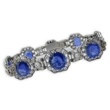 French Art Deco Approx. 42.0 Carat Natural Unheated Oval and Round Cut Sapphire, 7.50 Carat Old European Cut Diamond and Platinum Bracelet