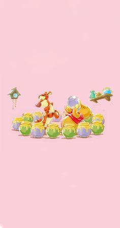 Tigger And Pooh, Winne The Pooh, Pooh Bear, Tropical Leaves, Art Pictures, Disneyland, Illustration, Cute, Wallpapers