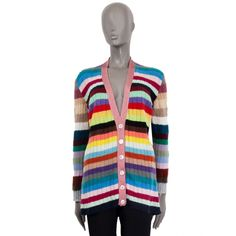 Gucci Multi-Color Striped Cardigan Multi Coloured Cardigans, Luxury Shop, Cashmere Wool, Striped Cardigan, Color Stripes, Pale Pink, Artsy, Gucci, Knitting