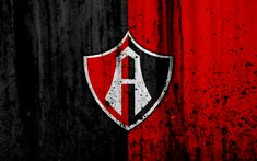 Download wallpapers 4k, FC Atlas, grunge, Liga MX, soccer, art, Primera Division, football club, Mexico, Atlas, stone texture, Atlas FC