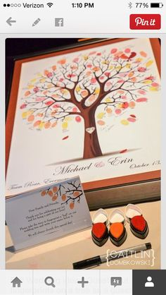Fall Wedding idea - Guests put fingerprints on a tree as a guestbook! Its already framed and ready to be hung as wall art for years to come! Instead of guest book? Trendy Wedding, Perfect Wedding, Fall Wedding, Diy Wedding, Wedding Favors, Rustic Wedding, Dream Wedding, Wedding Decorations, Wedding Venues