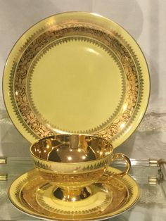 RW Rudolph Wachter Tea Cup Trio Gold Gilt Yellow Bavaria 6771 | eBay