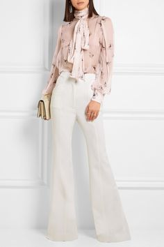 Alexander McQueen | Pussy-bow printed silk-crepon blouse | NET-A-PORTER.COM