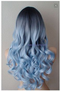 Airy blue fashion hairstyle wig for daily use or Cosplay Light blue Ombre wig. Dark roots Pastel silver blue by kekeshop Curly Hair Styles, Long Curly Hair, Short Hair, Curly Perm, Hair Dye Colors, Cool Hair Color, Hair Color Blue, Ombre Colour, Blue Ombre Wig