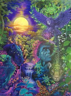 "Original Hand Painted on Canvas ""Guardianes de la Noche"" by Jorge Ramirez, student of Amaringo Jorge Ramirez, Medicinal Plants, Trippy, Psychedelic, Oil On Canvas, Spirituality, My Arts, Hand Painted, The Originals"