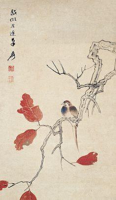 Zhang Daqian (張大千, 1899-1983). 張大千 紅葉小鳥