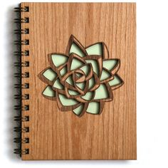 Succulent Lasercut Wood Journal ($29) ❤ liked on Polyvore featuring home, home decor, stationery, notebook and filler