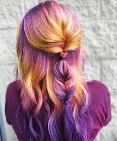 Purple pink and yellow hair