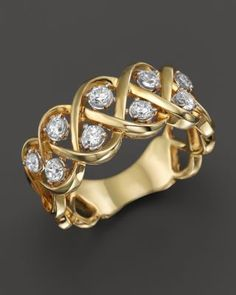Diamond Crossover Band with Solitaire Stations in Yellow Gold, ct. Jewelry & Accessories - Fine Jewelry - All Fine Jewelry - Bloomingdale's Or Antique, Antique Rings, Gold Rings Jewelry, Fine Jewelry, Diamond Rings, Diamond Jewelry, Diamond Pendant, Saphir Rose, Wedding Jewelry