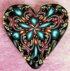 3-Holed Polymer Clay Kaleidoscope Heart Pendant /Bead - 'Starflower'... By Artist Unknown...