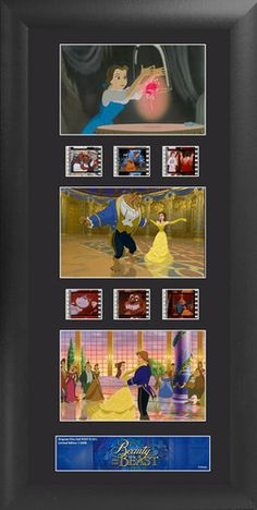 Disney's Beauty The Beast Wood Framed Upright Movie Film Cell Plaque 20 x 11