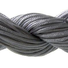 Lot 5m cordon nylon spécial shamballa gris 1mm