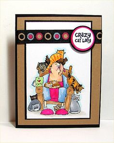 Art Impressions TryFolds  Cat Lady TF (Sku#4340) crazy cat lady handmade card.