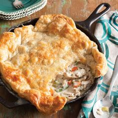 Puff pastry adds a decadent touch to this Cast Iron Chicken Pot Pie.