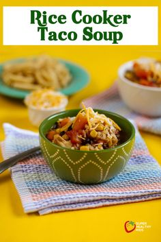 Taco Soup in the Rice Cooker - We love this way of cooking taco soup! Perfect bridge between crockpot and stove top, when you only have 45 minutes you can't be in the kitchen! http://www.superhealthykids.com/taco-soup-in-the-rice-cooker/