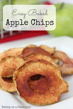 Baked Apple Chips are delicious and so easy to make. They are perfect when apples are on sale for easy snack ideas! How to make apple chips in the oven. Are apple chips healthy? These baked apple chips are so easy to make, healthy and taste great. Fruit Recipes, Apple Recipes, Snack Recipes, Easy Recipes, Vegan Recipes, Healthy Snacks For Kids, Easy Snacks, Healthy Food, Lunch Snacks
