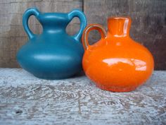 Set of 2 Small Vases Vtg Teal & Orange Small by OLaLaVintage