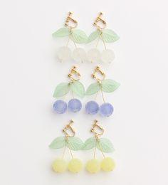 dot & stipes cherry earrings
