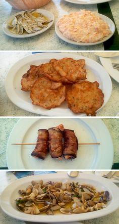 Tapas y raciones en El Rompido (Huelva): boquerones en vinagre, ensaladilla de gambas, tortillitas de camarones, coquinas y rollitos de berenjena y langostinos. Productos de primera a buenos precios en un lugar espectacular: http://lariadelpiedras.es/