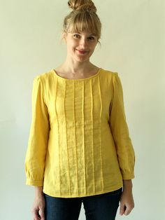 Yellow Double Gauze Josephine by madebyrae.  Pattern available at:  www.made-by-rae.com.  I just may have to purchase--3 versions.