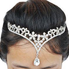 Jane Stone Classic Elegant CZ Rhinestone Bridal Wedding Headdress Fashion Women Bling Bling Crystal Hair AccessoriesH0039 -- Visit the image link more details.