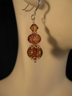 Gold Venetian Glass and Swarovski Crystal Silver by jewelsatlanta, $21.50
