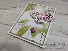 Stampin Up Watercolor Wings Serene Scenery paper & baby wipe technique butterfly. By Amanda Bates 2016-17 annual catalogue