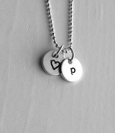 Initial Necklace Letter P Tiny Heart Personalized Jewelry Sterling Silver Charm All Letters Avail