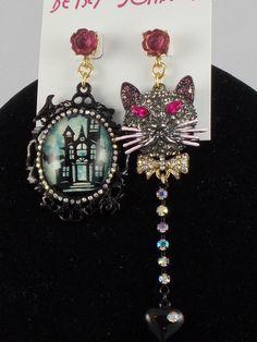 Betsey Johnson Gold Black DARK SHADOWS Haunted House Pave Cat Mismatch Earrings #BetseyJohnson #PushBack