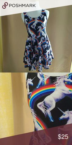 Unicorn Rainbow Skater Dress Spandex, Stretchy, lightweight, comfortable and flowy, Very cute pattern. Will fit a small/medium.   Unicorns , Rainbows , Magical , Comfy , Dresses , Multicolor , Magic , Horses , Goth , Funky , Colorful no brand Dresses Mini