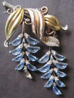 1940's Blue Wisteria crystal brooch by Trifari