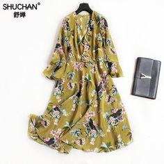 Cheap Dresses, Buy Directly from China Suppliers:SHUCHAN 2018 New Natural Silk Retro Dress Women Summer Ruffles Three Quarter Butterfly Sleeve Empire V-neck Sexy Vestidos 1552