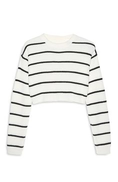 Primark - Black And White Stripe Crop Jumper Jean Skirt Outfits, Crop Top Outfits, Basic Outfits, Casual Outfits, Primark Outfit, Primark Clothes, Cute Jumpers, Cropped Jumpers, Girls Fashion Clothes