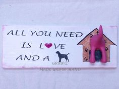 Own this cute sign for your dogs leash or collar lead. It is all handmade and comes ready to hang with 2 sawtooth hooks so you can be sure it is stable when you hang your dog's leash on it. This one c