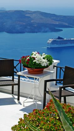 Photo about Romantic Santorini - volcano view from terrace restaurant. Image of greek, resort, europe - 30054395 Mykonos, Santorini Greece, Santorini Island, Greece Tourism, Greece Travel, Places Around The World, Around The Worlds, Greece Wallpaper, Places To Travel