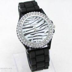 New Kanima Ladies Watch Zebra Black White Dial Black Band Rhinestone Bezel SuzePlace.com