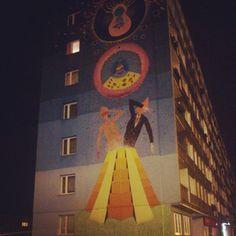 #poland #poznań #wilda #nadzielni #building #wall #ładne #czy #brzydkie #jeszcze #siezastanawiam #art #street #miastonocą #night #pretty #ugly