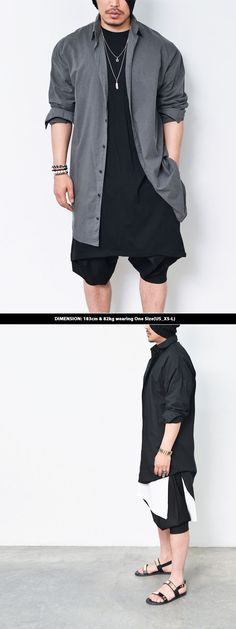 Tops :: Shirts :: Avant-garde Oversized Long Shirt-Shirt 139 - Mens Fashion Clothing For An Attractive Guy Look