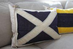 Vintage Nautical Signal flag pillow Blue and White X by mysparrow Nautical Bedroom, Nautical Home, Nautical Pillows, Coastal Decor, Coastal Cottage, Coastal Homes, Coastal Living, Sailboat Interior, Nautical Flags