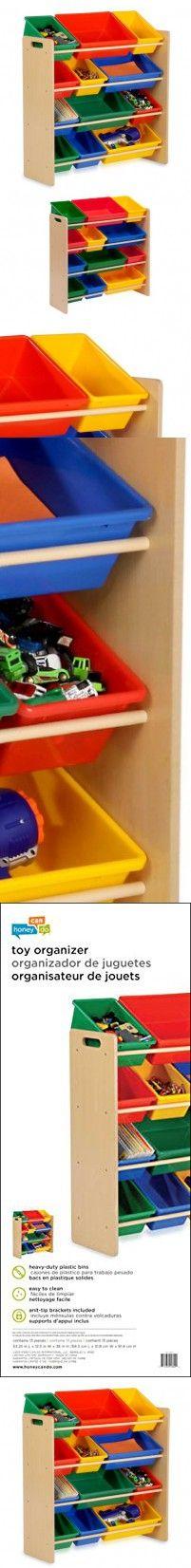 Honey Can Do Srt 01603 Kids Toy Organizer And Storage Bins White Pastel Wall Mountable 36 Height X 12 5 Width Bin Plastic Wood