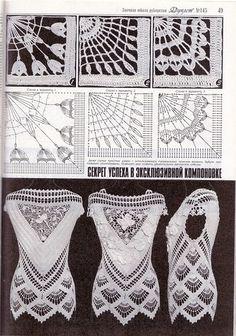 Captivating Crochet a Bodycon Dress Top Ideas. Dazzling Crochet a Bodycon Dress Top Ideas. Crochet Bedspread Pattern, Crochet Motif Patterns, Crochet Diagram, Stitch Patterns, Gilet Crochet, Crochet Tunic, Crochet Tops, Russian Crochet, Irish Crochet