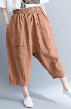 abf3f39b5706 summer new khaki cotton linen pants plus size elastic waist crop pants