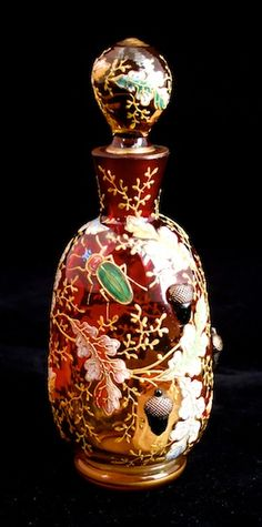 MOSER Rare oak leaf enamelled perfume bottle with applied high-relief acorns and high carat gilding, with Moser enamelled beetle, c.
