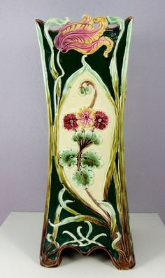 Victorian Majolica Art Nouveau Vase Antique Vase by ArtNouveauGal, $395.00