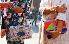 Street style. Dolce & Gabbana & Paula Cademartori purses