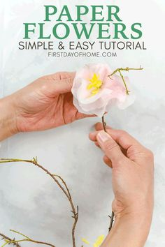 Learn how to make paper flowers with this easy step-by-step tutorial for beginners. You won't believe what I used for this DIY paper craft project! How To Make Paper Flowers, Tissue Paper Flowers, Diy Party Decorations, Paper Decorations, Paper Garlands, Faux Flowers, Diy Flowers, Shower Baby, Bridal Shower